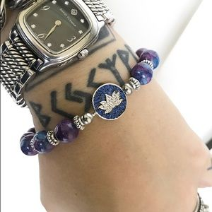 Silverskylight Jewelry - Cz lotus flower snow purple jasper bead bracelet